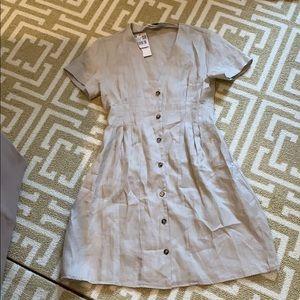 Mango linen tan dress size xs